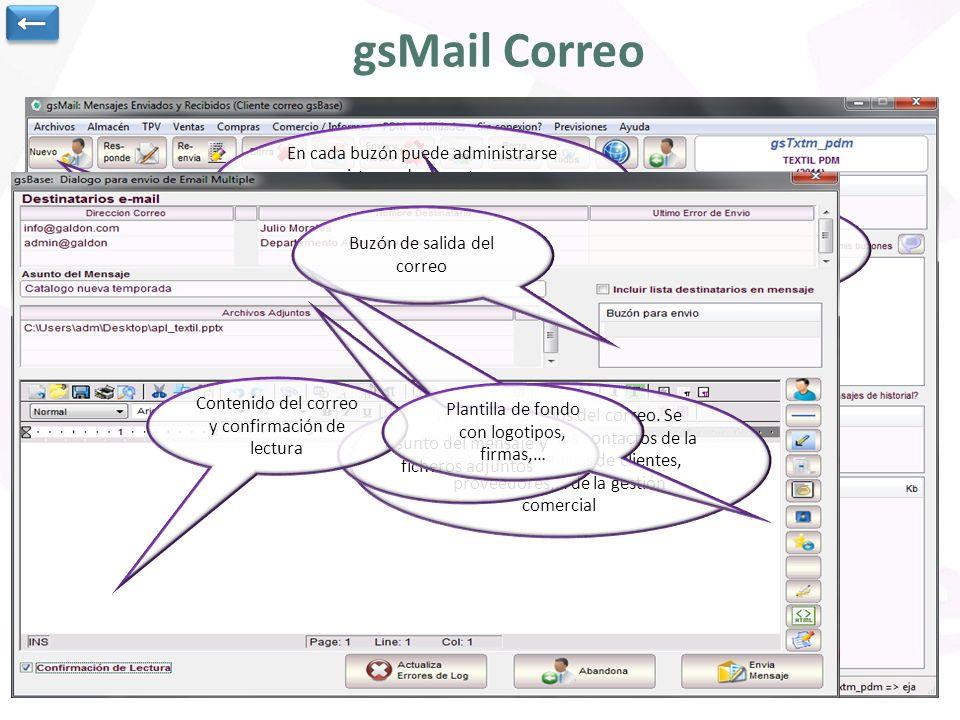 ← gsMail Correo. En cada buzón puede administrarse un sistema de carpetas para almacenar correo entrante y saliente.