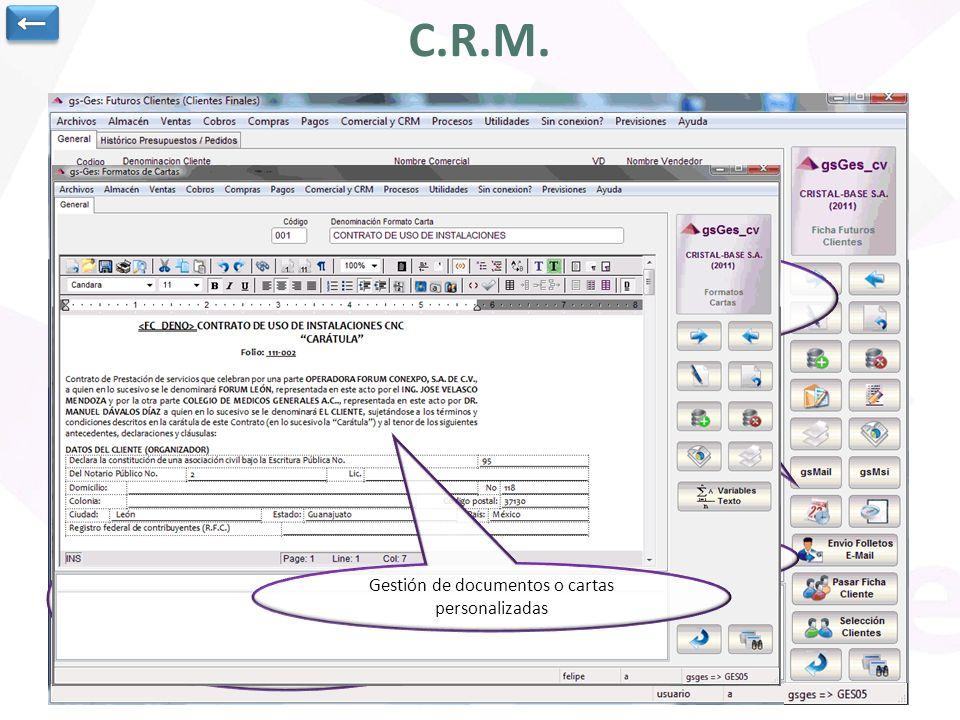 ← C.R.M. Posibilidad de trabajo con gsMail, mensajería interna, utilización de agenda gsBase, envío de documentación publicitaria, envío mails…
