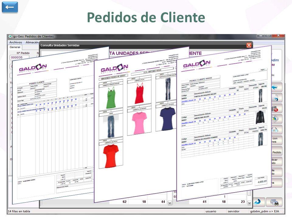 Pedidos de Cliente ← Cabecera del pedido de cliente.