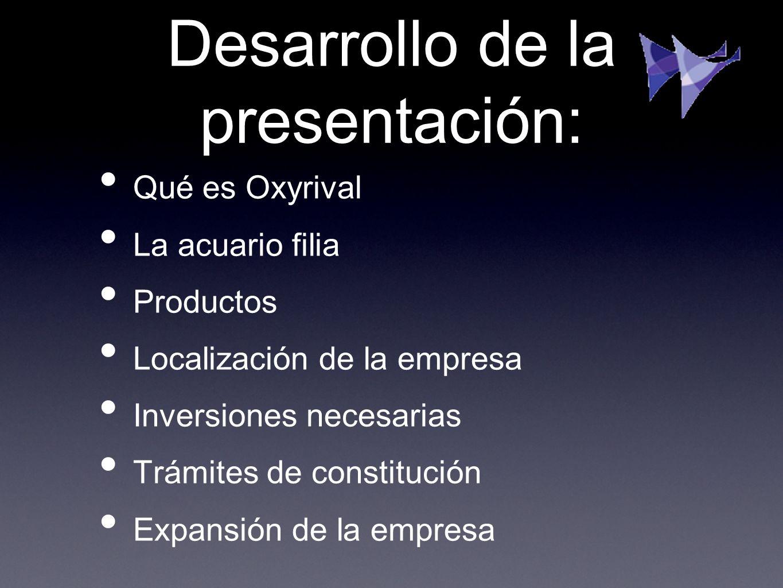 Desarrollo de la presentación: