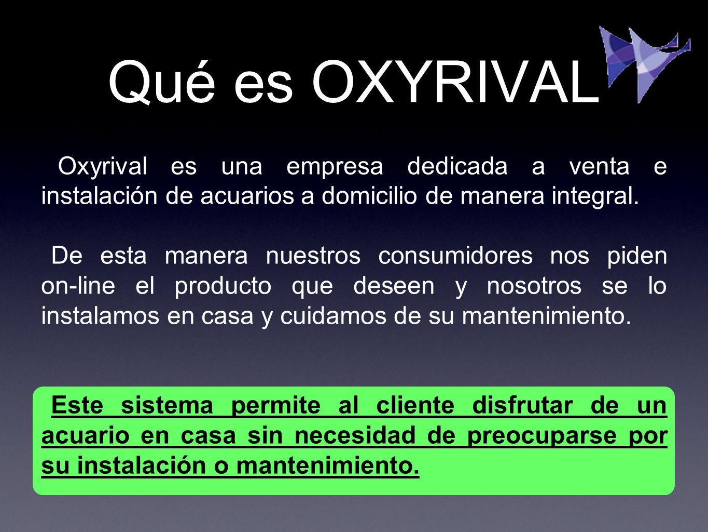 Qué es OXYRIVAL Oxyrival es una empresa dedicada a venta e instalación de acuarios a domicilio de manera integral.