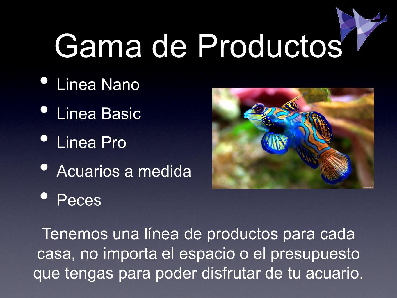 Gama de Productos Linea Nano Linea Basic Linea Pro Acuarios a medida