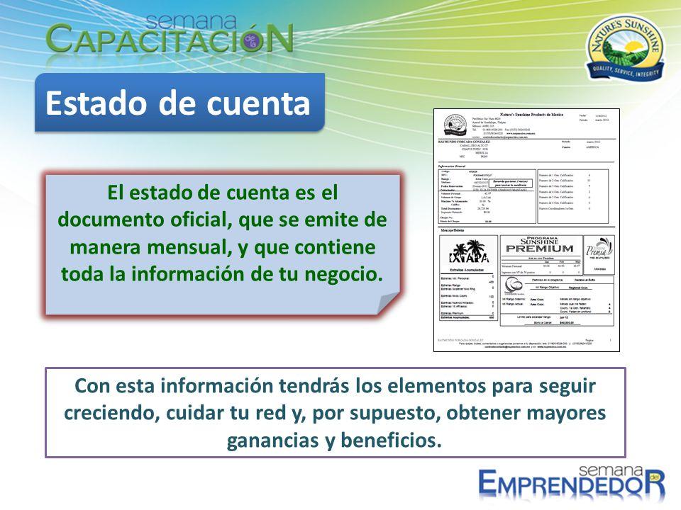 Estado de cuenta El estado de cuenta es el documento oficial, que se emite de manera mensual, y que contiene toda la información de tu negocio.