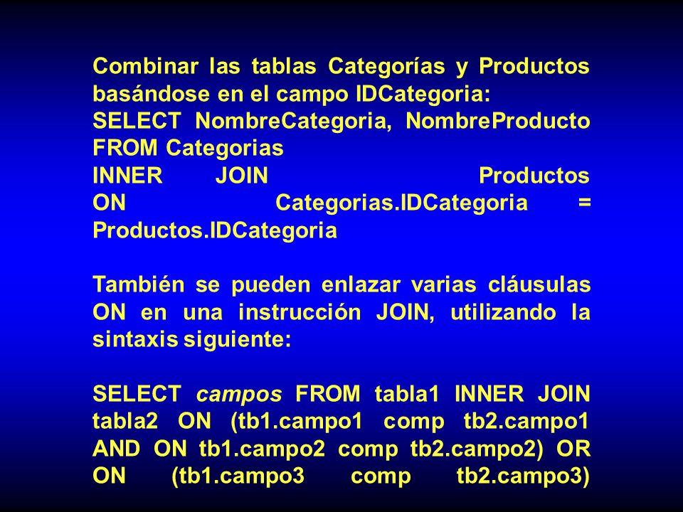 Combinar las tablas Categorías y Productos basándose en el campo IDCategoria: