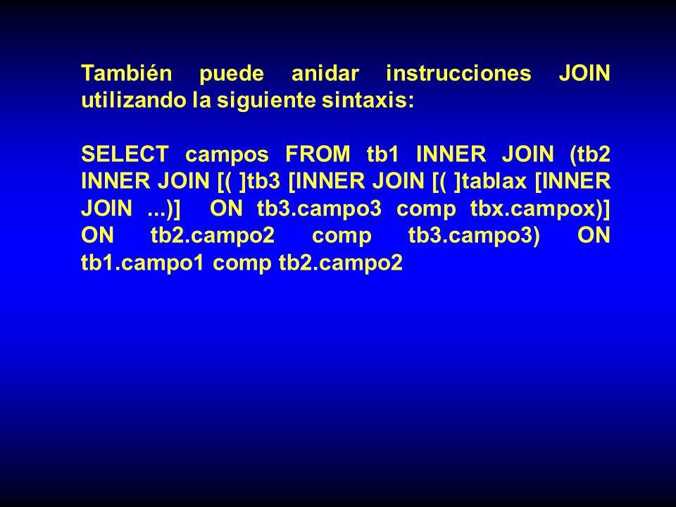 También puede anidar instrucciones JOIN utilizando la siguiente sintaxis: