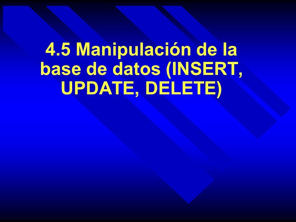 4.5 Manipulación de la base de datos (INSERT, UPDATE, DELETE)