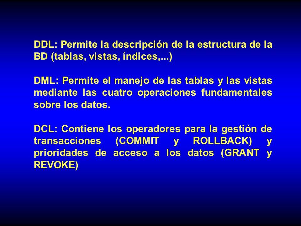 DDL: Permite la descripción de la estructura de la BD (tablas, vistas, índices,...)