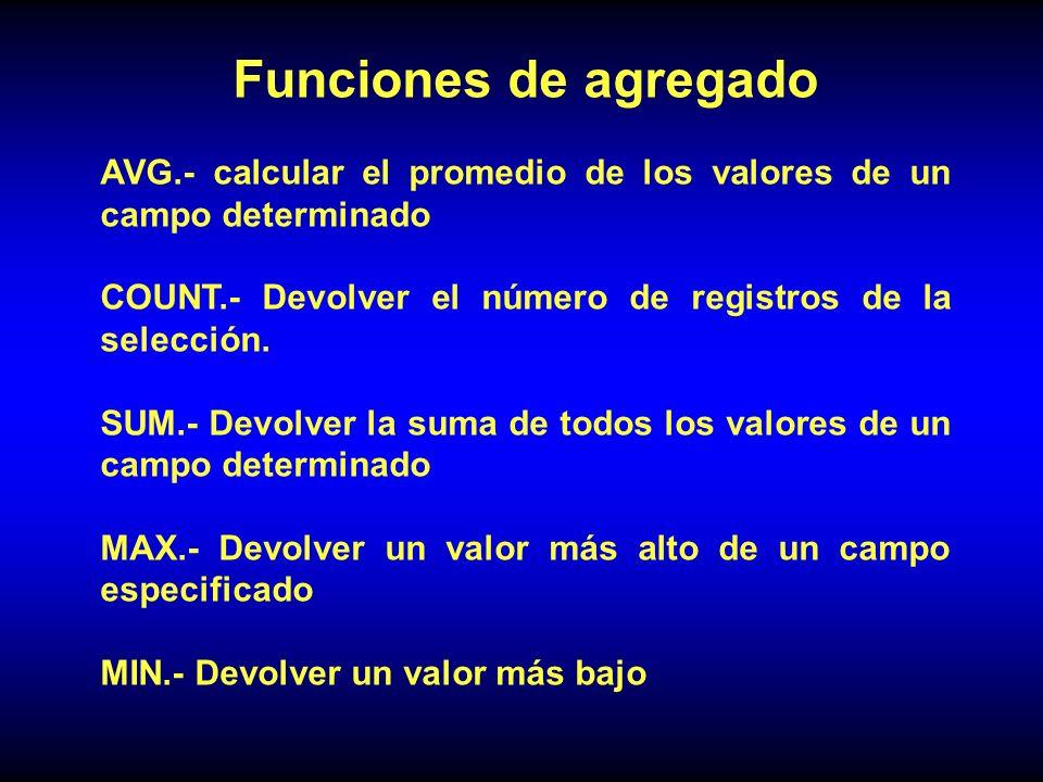 Funciones de agregado AVG.- calcular el promedio de los valores de un campo determinado. COUNT.- Devolver el número de registros de la selección.