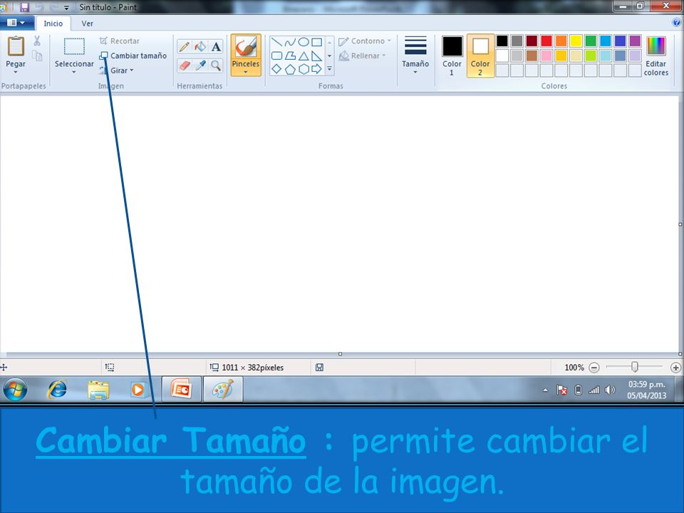 Cambiar Tamaño : permite cambiar el tamaño de la imagen.