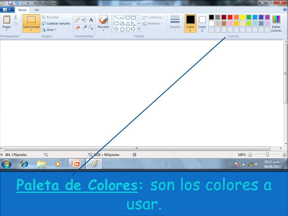 Paleta de Colores: son los colores a usar.