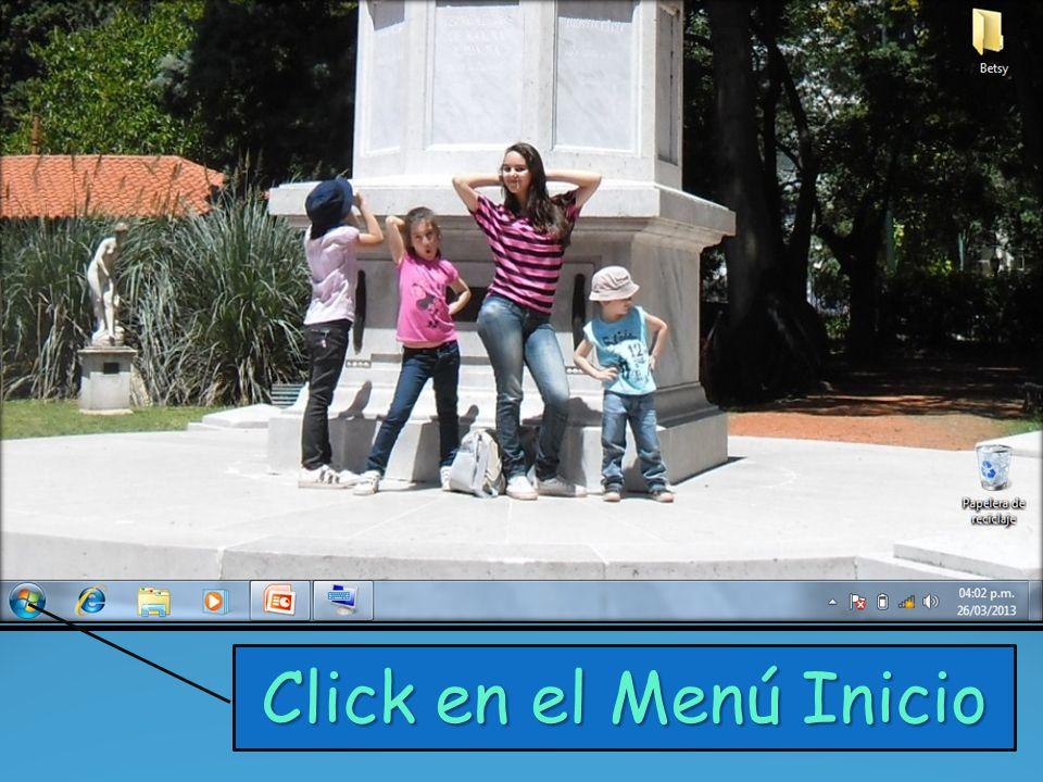 Click en el Menú Inicio