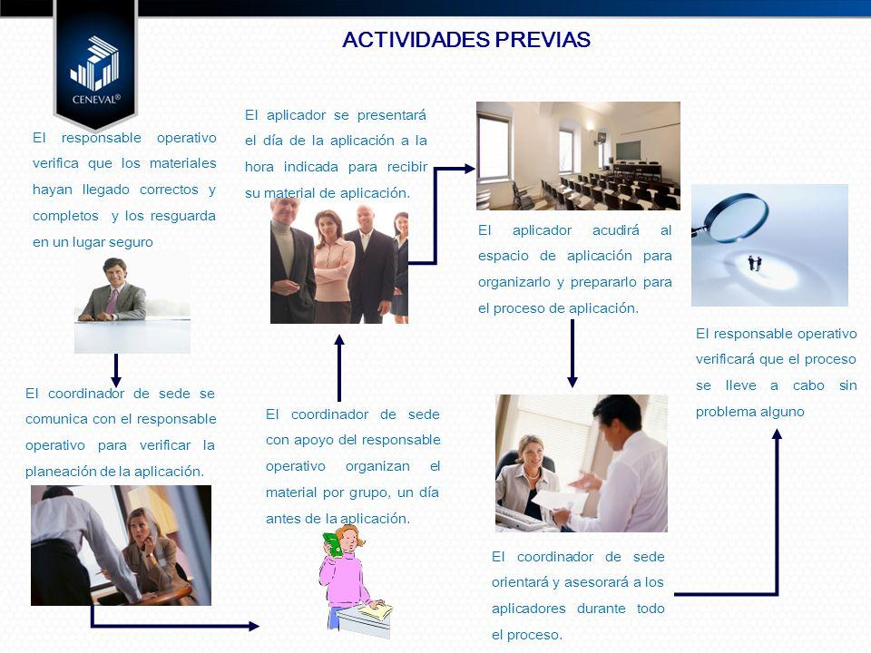 ACTIVIDADES PREVIAS El aplicador se presentará el día de la aplicación a la hora indicada para recibir su material de aplicación.