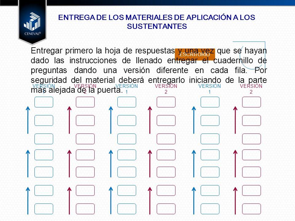 ENTREGA DE LOS MATERIALES DE APLICACIÓN A LOS SUSTENTANTES