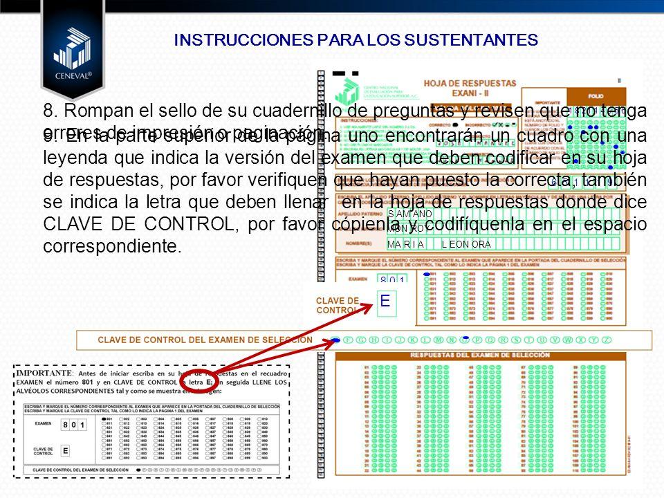 INSTRUCCIONES PARA LOS SUSTENTANTES