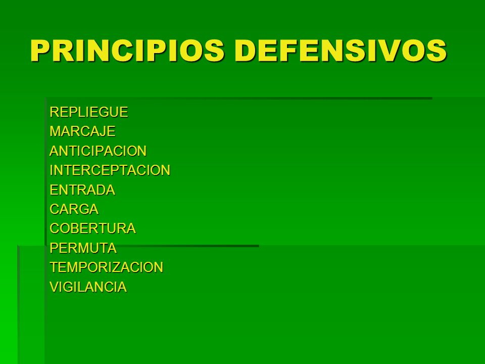 PRINCIPIOS DEFENSIVOS
