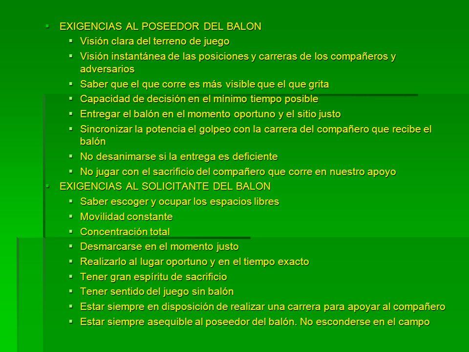 EXIGENCIAS AL POSEEDOR DEL BALON