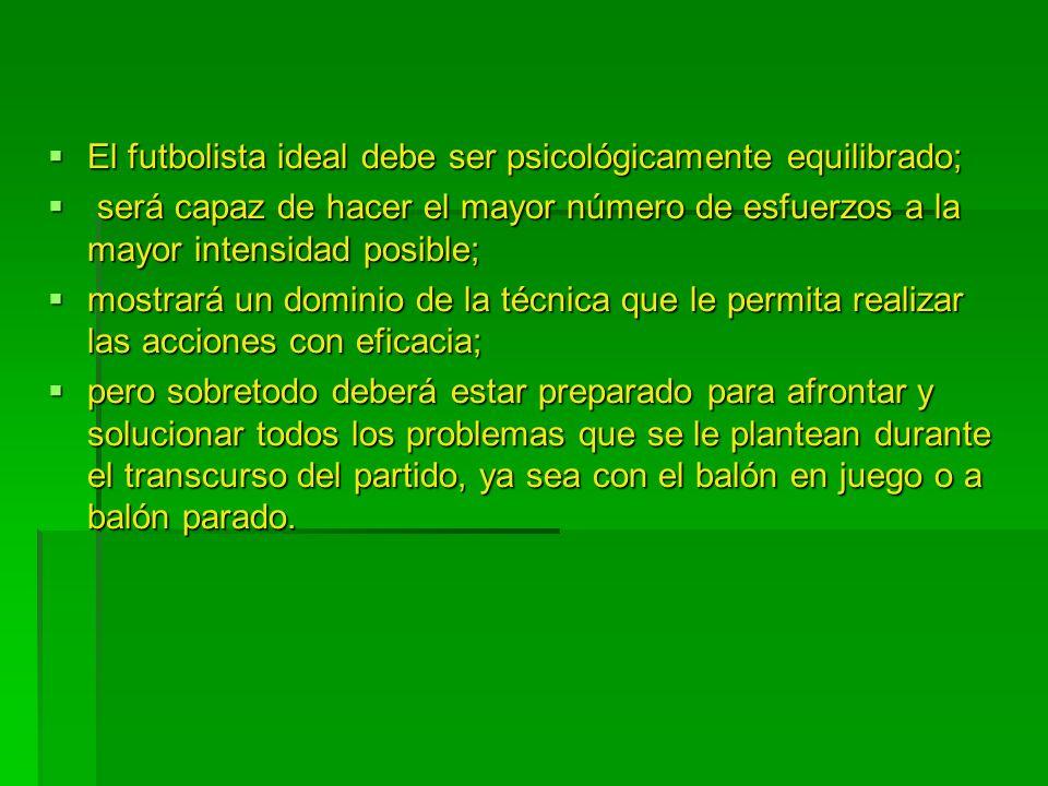 El futbolista ideal debe ser psicológicamente equilibrado;