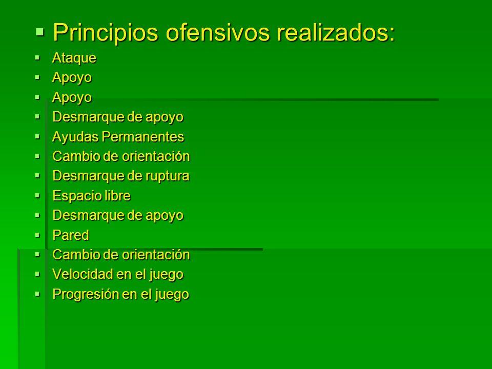 Principios ofensivos realizados: