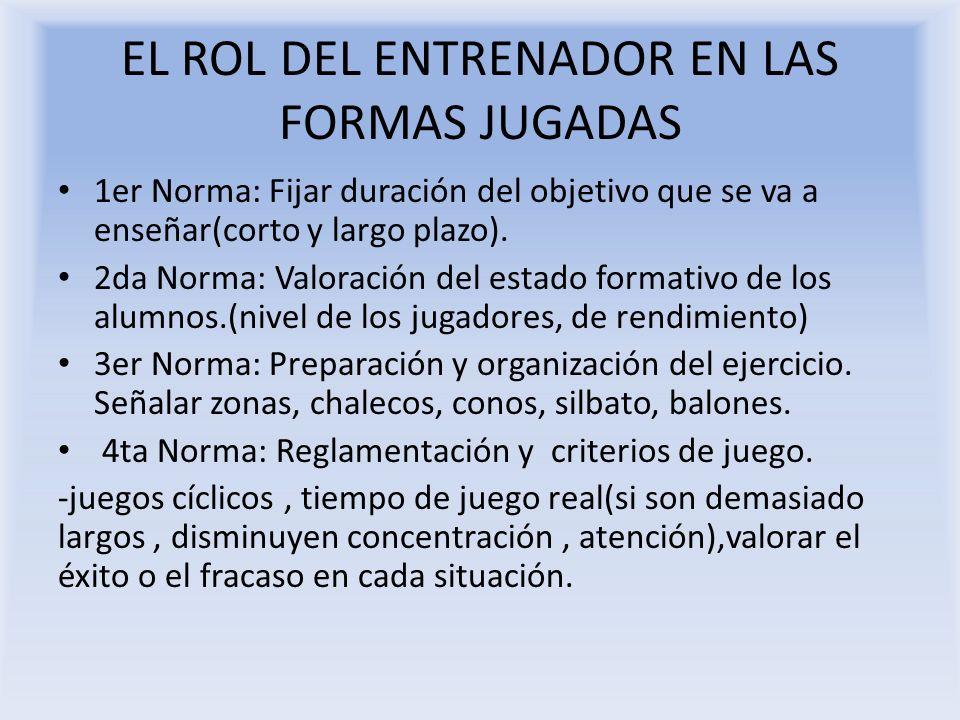 EL ROL DEL ENTRENADOR EN LAS FORMAS JUGADAS