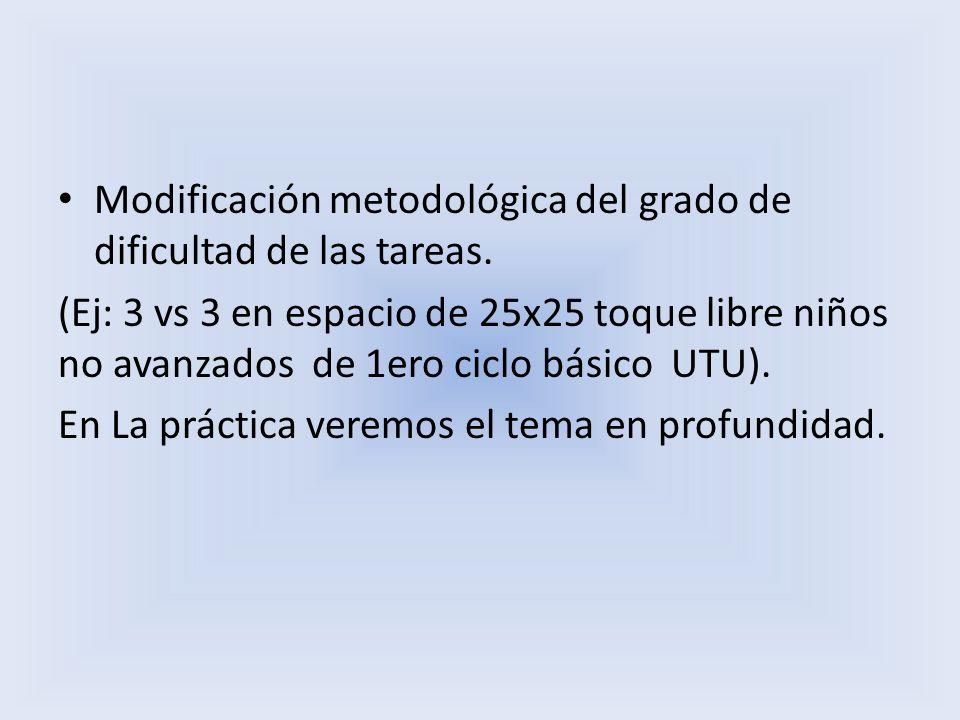 Modificación metodológica del grado de dificultad de las tareas.