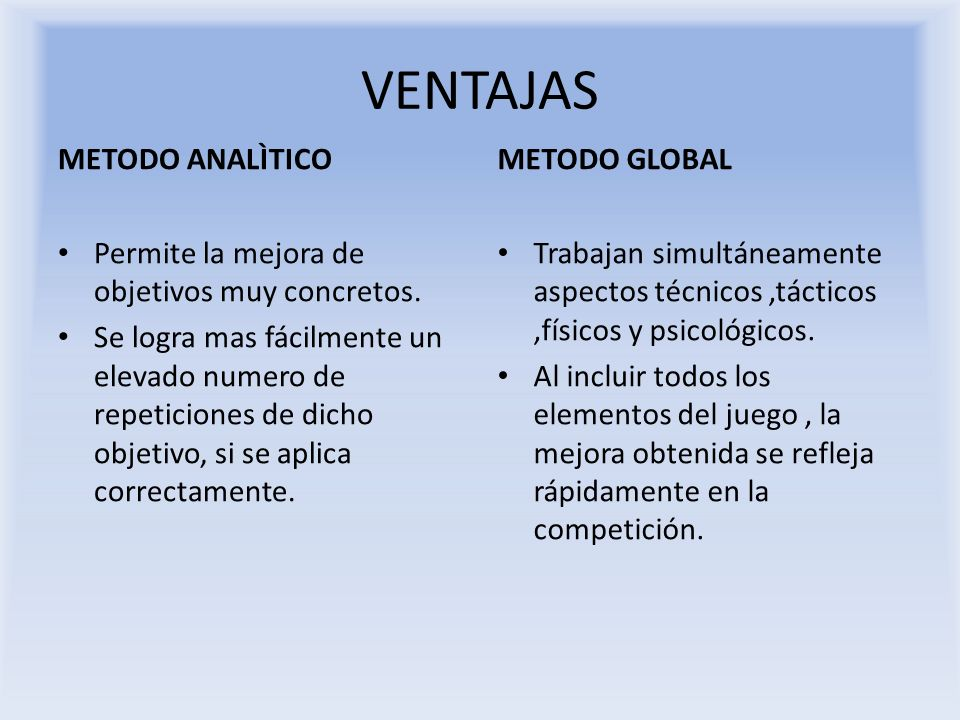 VENTAJAS METODO ANALÌTICO METODO GLOBAL