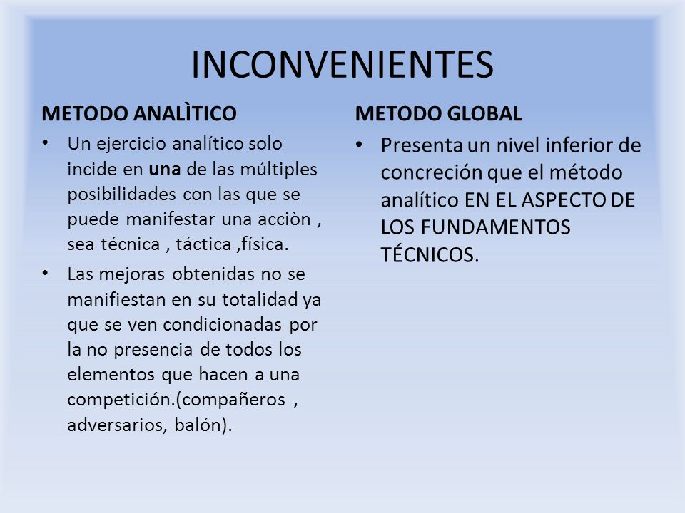 INCONVENIENTES METODO ANALÌTICO METODO GLOBAL