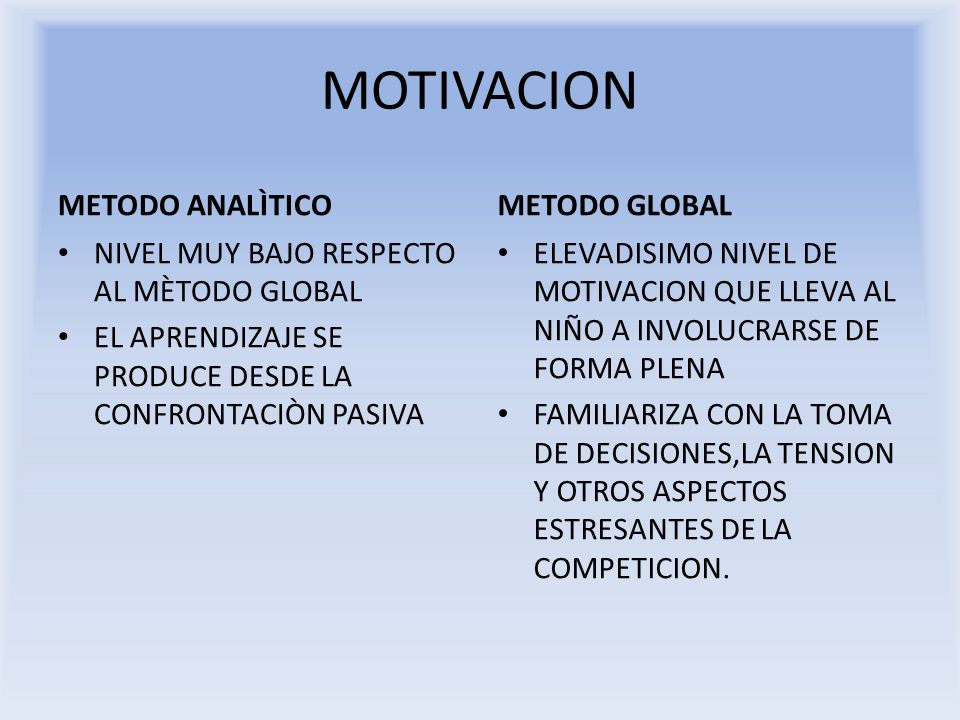 MOTIVACION METODO ANALÌTICO METODO GLOBAL