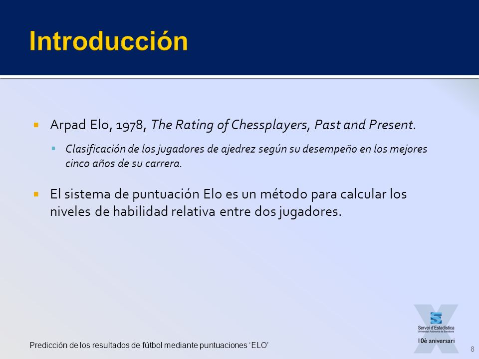 Introducción Arpad Elo, 1978, The Rating of Chessplayers, Past and Present.