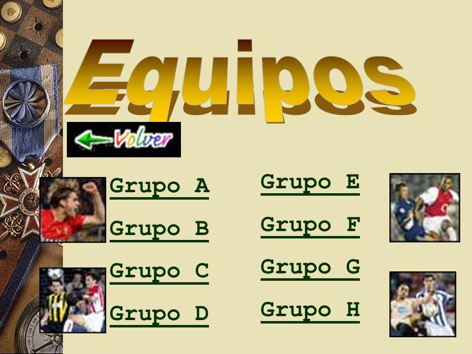 Equipos Grupo E Grupo F Grupo G Grupo H Grupo A Grupo B Grupo C Grupo D