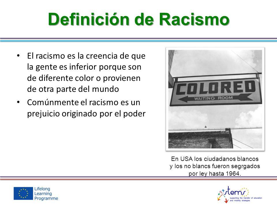 Definición de Racismo El racismo es la creencia de que la gente es inferior porque son de diferente color o provienen de otra parte del mundo.