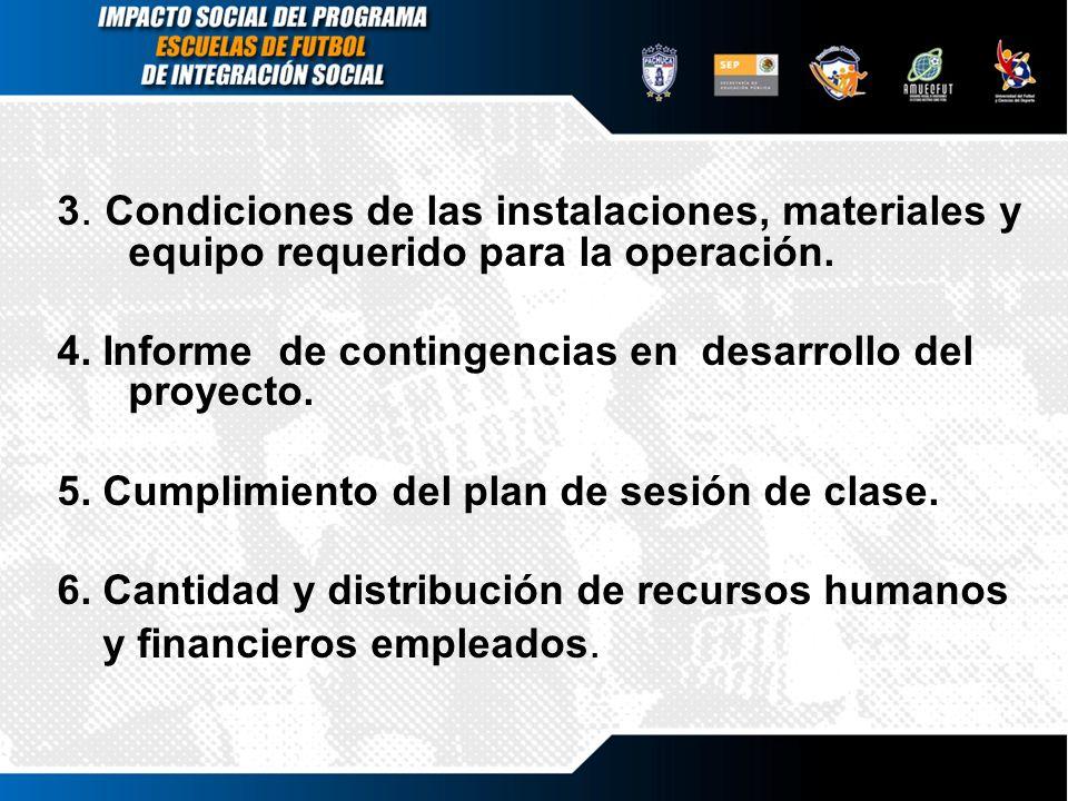 3. Condiciones de las instalaciones, materiales y equipo requerido para la operación.