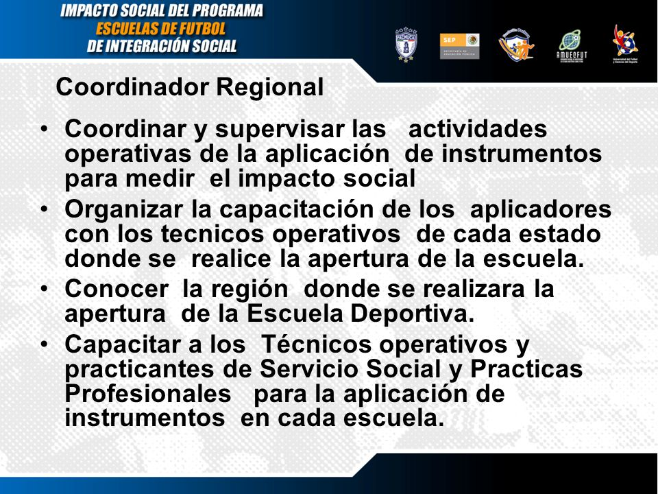 Coordinador Regional Coordinar y supervisar las actividades operativas de la aplicación de instrumentos para medir el impacto social.