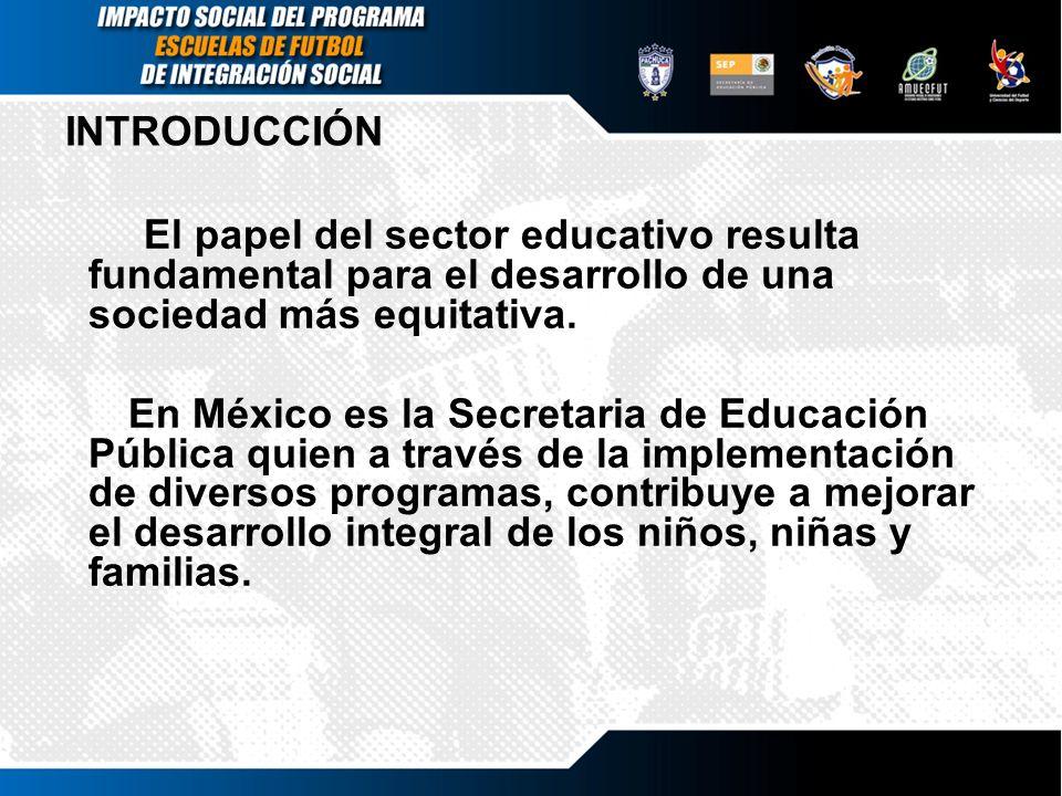 INTRODUCCIÓNEl papel del sector educativo resulta fundamental para el desarrollo de una sociedad más equitativa.