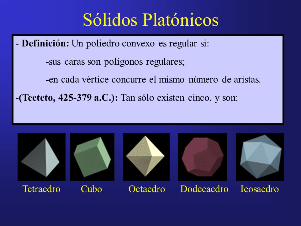 Sólidos Platónicos - Definición: Un poliedro convexo es regular si: