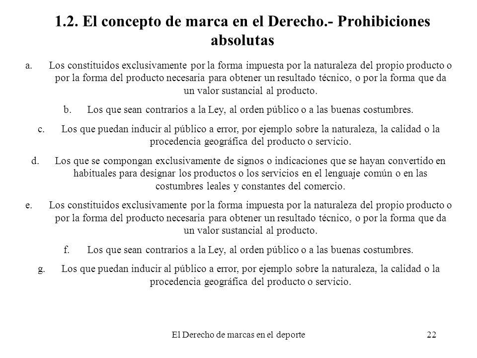 1.2. El concepto de marca en el Derecho.- Prohibiciones absolutas