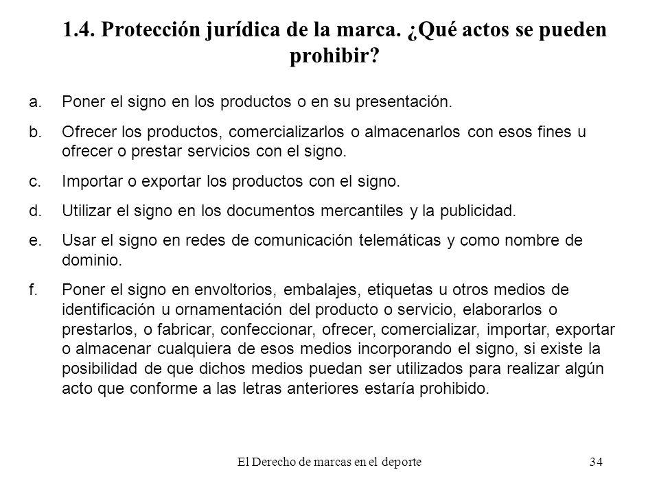 1.4. Protección jurídica de la marca. ¿Qué actos se pueden prohibir