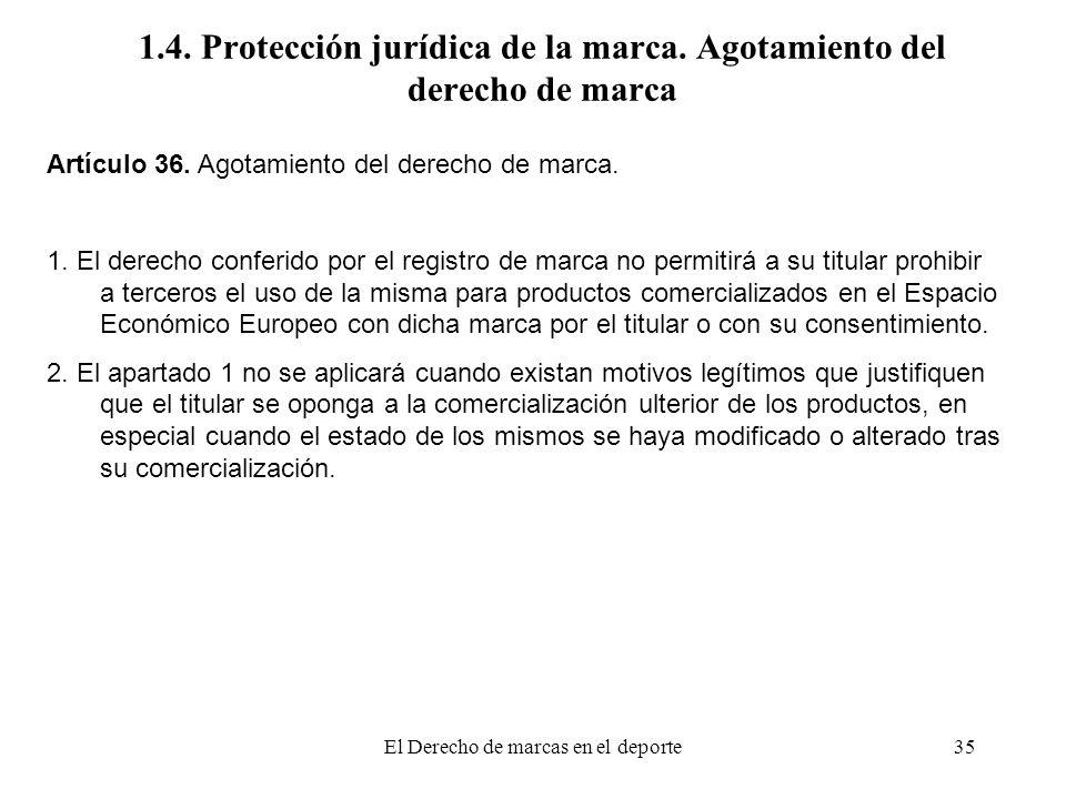 1.4. Protección jurídica de la marca. Agotamiento del derecho de marca