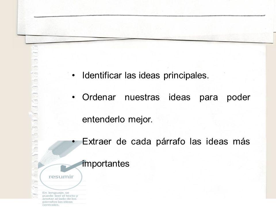 Identificar las ideas principales.