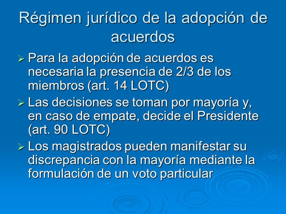 Régimen jurídico de la adopción de acuerdos