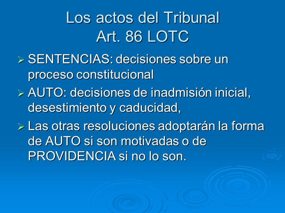 Los actos del Tribunal Art. 86 LOTC