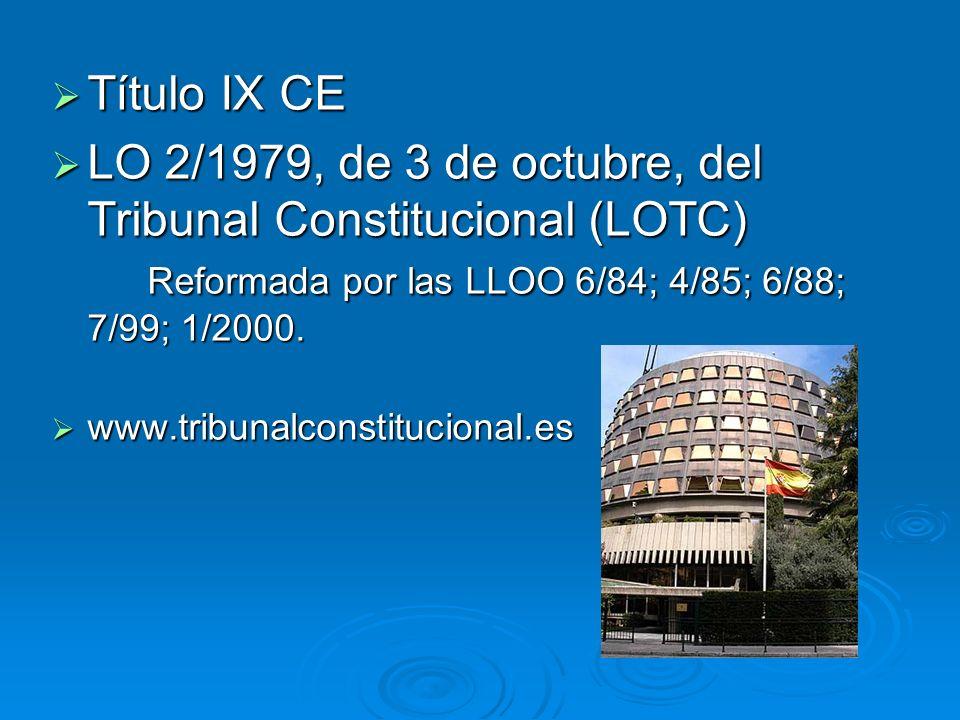 Título IX CELO 2/1979, de 3 de octubre, del Tribunal Constitucional (LOTC) Reformada por las LLOO 6/84; 4/85; 6/88; 7/99; 1/2000.