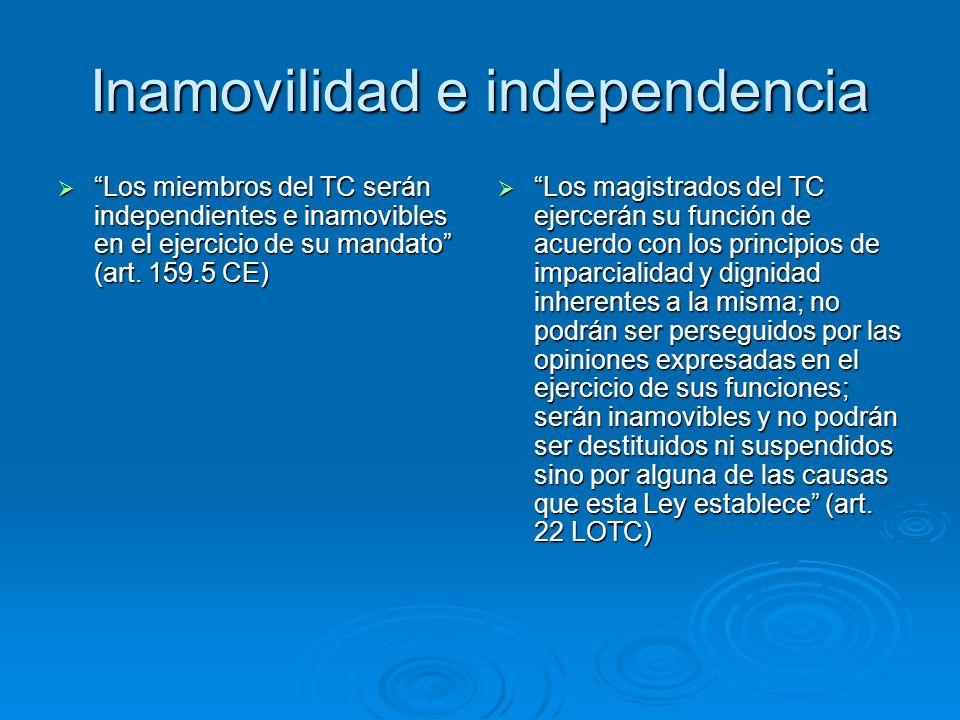 Inamovilidad e independencia