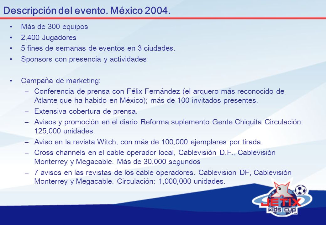 Descripción del evento. México 2004.