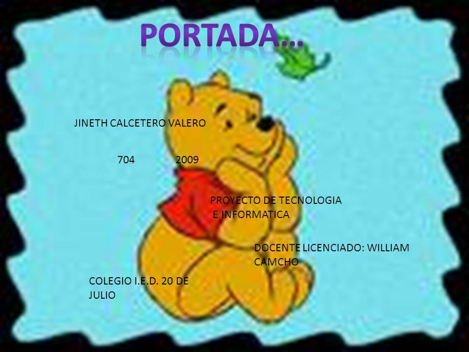 Portada… JINETH CALCETERO VALERO 704 2009 PROYECTO DE TECNOLOGIA