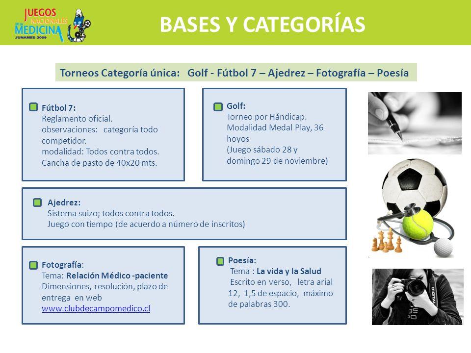 BASES Y CATEGORÍAS Torneos Categoría única: Golf - Fútbol 7 – Ajedrez – Fotografía – Poesía. Golf: