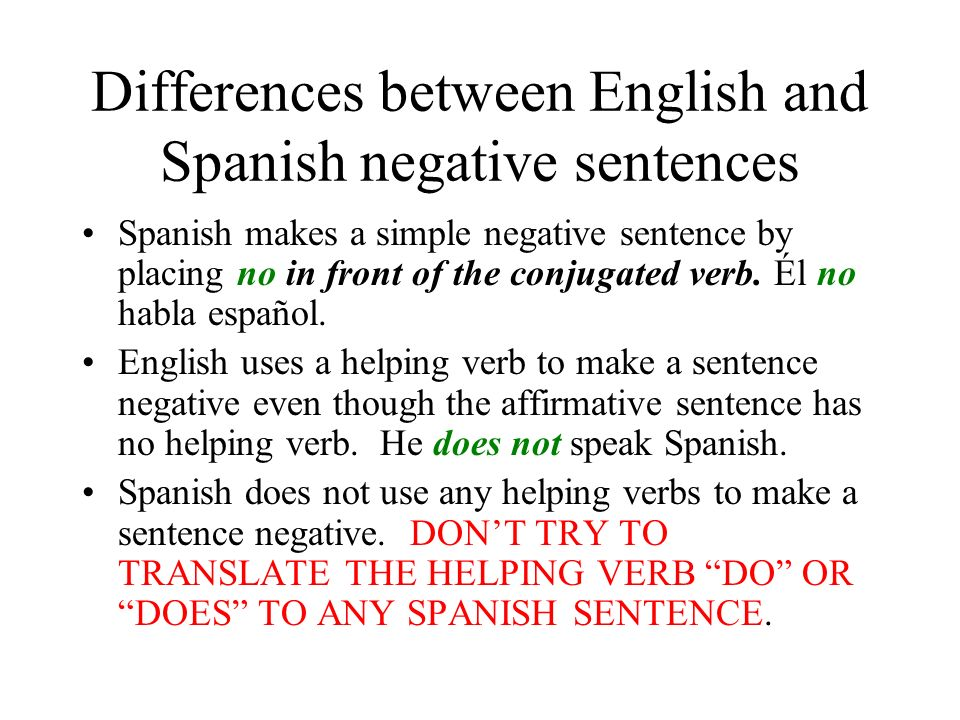 Differences between English and Spanish negative sentences