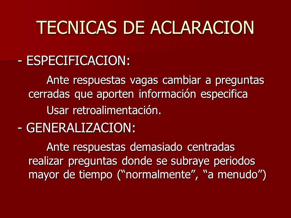 TECNICAS DE ACLARACION