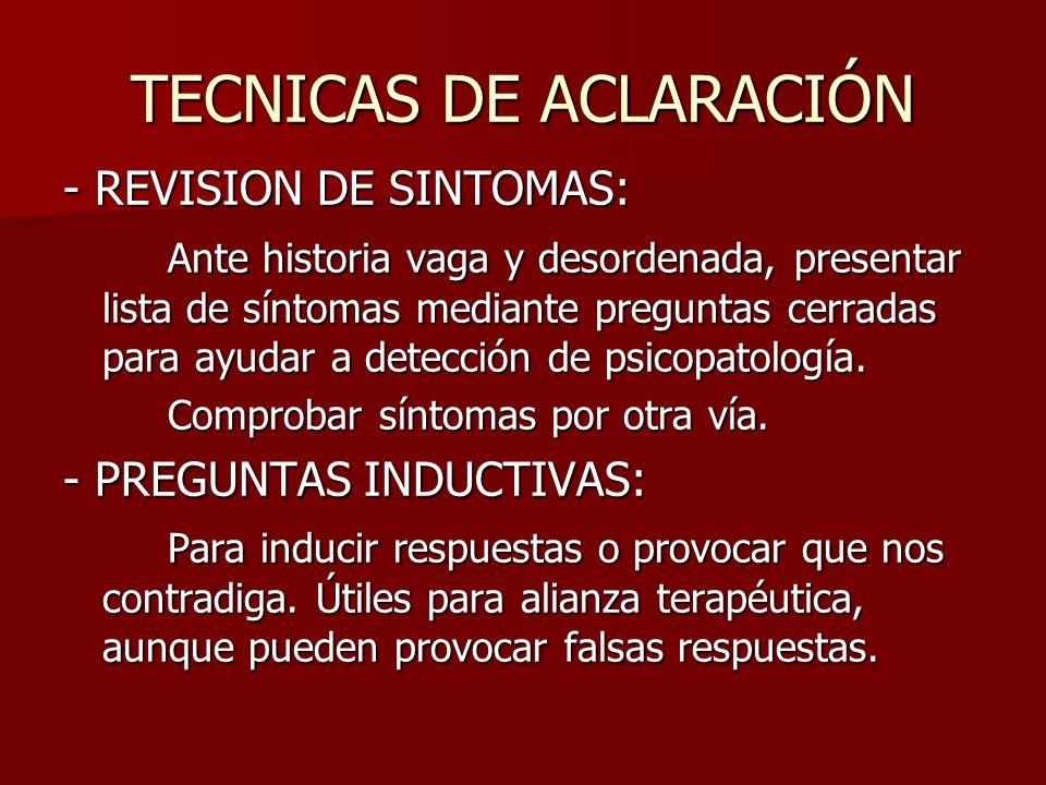TECNICAS DE ACLARACIÓN