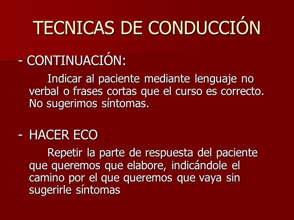 TECNICAS DE CONDUCCIÓN