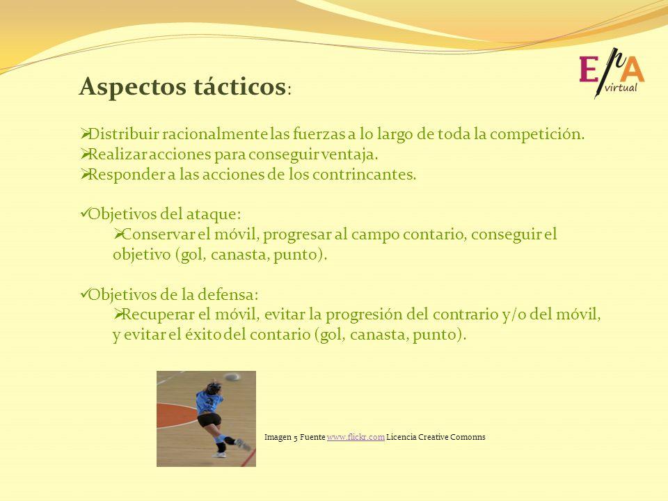 Aspectos tácticos: Distribuir racionalmente las fuerzas a lo largo de toda la competición. Realizar acciones para conseguir ventaja.